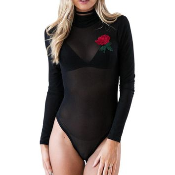 Sexy Mesh Though Women Bodysuits Embroidery Long Sleeve Turtleneck Leotard Short Rompers Jumpsuit