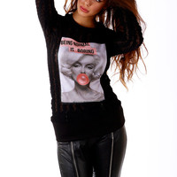Lace blouse with print / Black top / Lace top / Lace shirt / Marilyn Monroe print