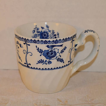 Blue & White Floral Cup Vintage Made in England Blue Flower Mug Ceramic Blue Bird Tea Cup Cottage Decor Blue and White China Decor