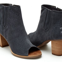 DARK GREY SUEDE EMBOSSED WOMEN'S MAJORCA PEEP TOE BOOTIES