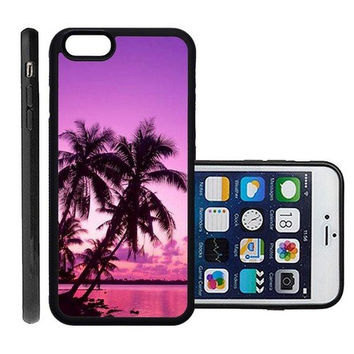 RCGrafix Brand Tropical Palm Trees Sunset Beach Apple Iphone 6 Plus Protective Cell Phone Case Cover - Fits Apple Iphone 6 Plus