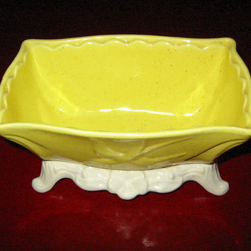 Lane  Co California Dove Pottery Mid Century Yellow White Ceramic Planter