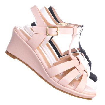 Tuna37K Kids Gladiator Wedge Heel Sandal - Children Girl T-Strap Open Toe Shoe