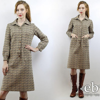 Vintage 70s Longsleeve Brown Dress M 70s Dress Longsleeve Dress Hippie Dress Hippy Dress 60s Mod Dress Space Age Dress