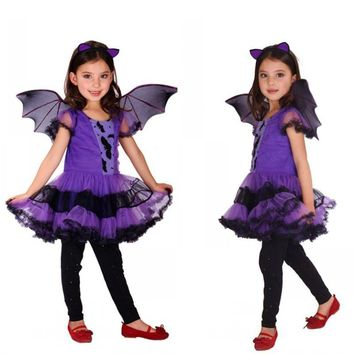 M-XL Disfraces Children Kids Girls Vampire Batman anime Cosplay Halloween Costumes Fantasia infantile Masquerade Carnival dress