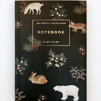 Clap Clap: Wild Animals Notebook in Black