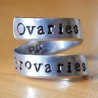 Ovaries Before Brovaries Leslie Knope Inspired Twist Ring Hand Stamped  Bff Gift
