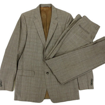 Vintage Hardy Amies Two Piece Suit in Glen Plaid - Grey Tan Brown Ivy League Menswear - Men's Size 44 33/34 Large Lrg L