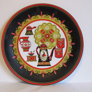 Folk Art Serving Tray Large Coffee Kitchen Decor Vintage Coffee Decor