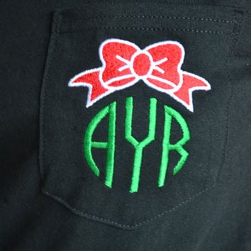 Long Sleeved MONOGRAMMED Bow Monogram - Christmas - Holiday