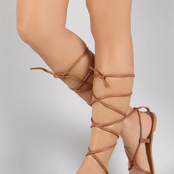 Qupid Strappy Gladiator Open Toe Flat Sandal