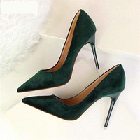 Shallow Office Shoes Solid Flock Pointed Toe Women Pumps