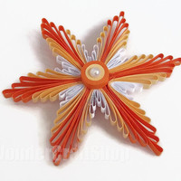 orange paper snowflake, ball ornament, christmas tree decoration, quilled snowflake, christmas star, christmas decoration