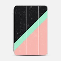 Girly Pink Mint Green Modern Color Block Black iPad Mini 1/2/3 case by Girly Road | Casetify