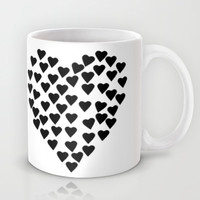 Hearts Heart Black and White Mug by Project M