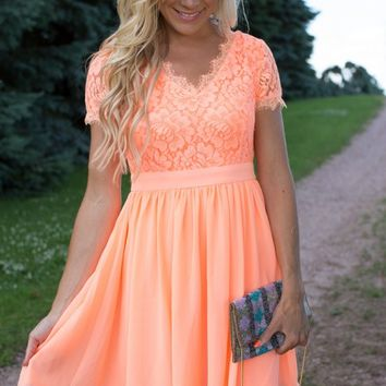 Every Heart Beat Lace Dress in Neon
