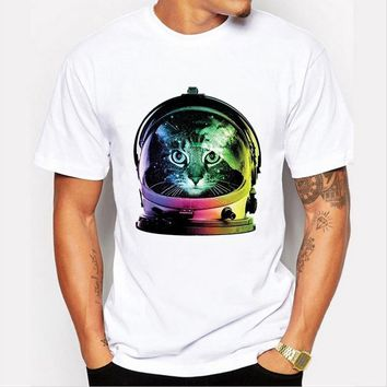 Summer Fashion Casual Men 's Funny Personality Cosmos Cat Printing short - sleeved o - neck T - Shirt