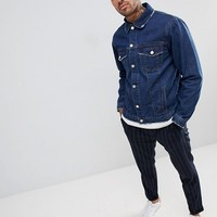 boohooMAN denim jacket in blue wash at asos.com