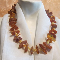 100% Baltic Amber natural genuine real medical healing Huge necklace 77.8 gr, raw stones beads long unpolished dark brown