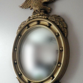 Vintage Large Gold Toned Federalist Convex Bullseye Mirror with gold eagle Wall Mirror