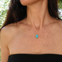 Tiny Teal Howlite Turquoise Teardrop Necklace, Sterling Silver Necklace, Minimalist Pendant, Beautiful Delicate, Feminine Gift For Her