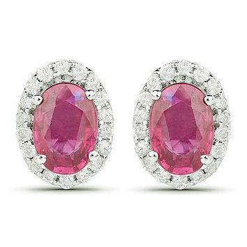 14K White Gold 2.20TCW Oval Cut Red Ruby White Diamond Halo Stud Earrings