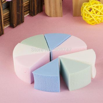 8pcs/pack,Triangle shaped candy color soft Magic Face Cleaning Pad Puff Cosmetic Puff Cleansing sponge wash face makeup sponge
