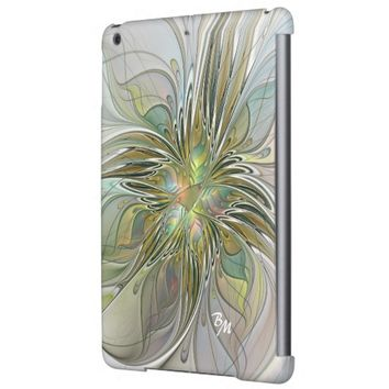 Floral Fantasy, Abstract Fractal Art Monogram iPad Air Cases
