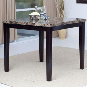 Contemporary 42 X 42 Inch Counter Height Dining Table With Faux Marble Top 2