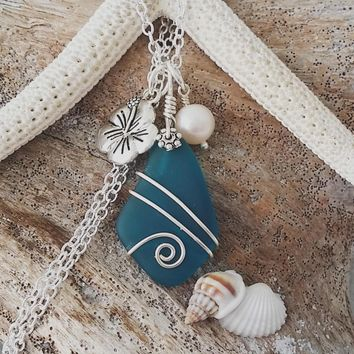 Handmade in Hawaii, Wire wrapped teal blue sea glass necklace,  Fresh water pearl, Hibiscus charm, Sterling silver chain, Gift for her.