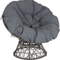 "Bowie Comfort ""Papasan"" Style Swivel Patio Chair with Dark Gray Cushion"