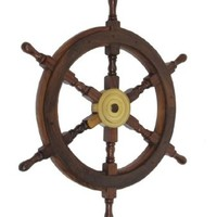 "Wooden Ship Wheel 24"" - Wooden Ship Wheels - Antique Ship Wheels - Nautical Theme - Ships Wheels For Sale - Beach Cottage Bedroom Decorating - NEW - Nautical Theme"