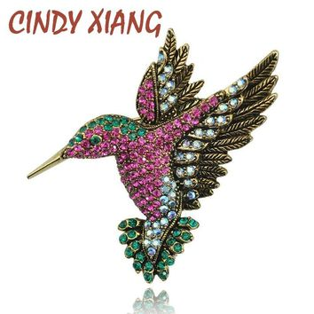 CINDY XIANG Colorful Rhinestone Hummingbird Brooch Animal Brooches for Women Korea Fashion Accessories Factory Direct Wholesale
