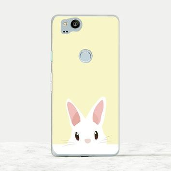 Cute Rabbit on Yellow background soft rubber phone case for Rabbit owners