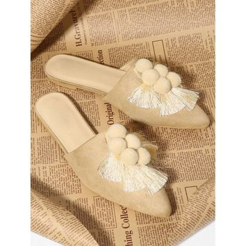Apricot Pointed Toe Pom Pom and Tassel Mules