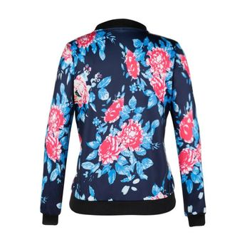 Women Black Bomber Jacket 2018 Print Floral Coat Casual Zipper Basic Outerwear Coats Jackets Plus Size