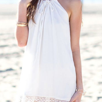 White Sleeveless Lace Summer Dress
