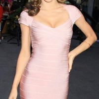 Love Struck Pink Cap Sleeve V Neck Bodycon Bandage Mini Dress - Inspired by Miranda Kerr