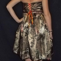 Corset Back Satin Camouflage Bridesmaid Dresses