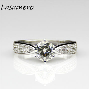 LASAMERO 1 CT Moissanites Lab Grown Diamond Engagement Ring 9k White Gold Engagement Wedding Rings Test Real Moissanites Ring