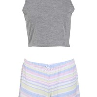 Mya Crop Vest & Stripe Shorts Night Set