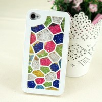 ZLYC Bubbling Dancing Rhinestone Glitter Bling Bling Diamond Case for iPhone 5 White Frame