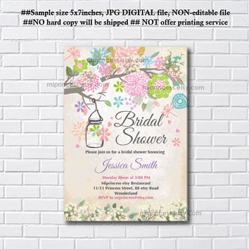 Shabby chic, Jar floral ,  Mason Jars High Tea, Birthday Tea, Baby Shower, Bridal shower, invitation, invitation, celebration - card 566