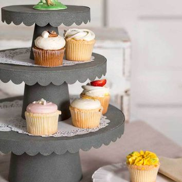 3 Sizes Scalloped Cupcake Stand - Barn Roof
