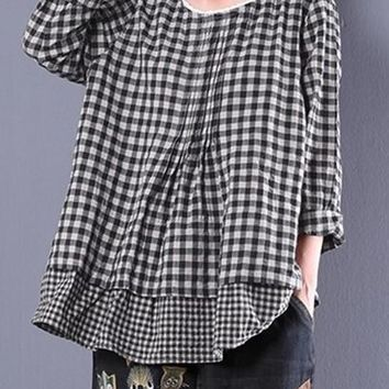 2018 Women Long Sleeve Plaid Check Fake Two Pieces Baggy Blouse Lace Crochet Cotton Linen Ruffles Shirt Oversized Top