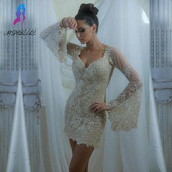 2017 Champagne Lace Full Sleeves Robe Cocktail Dresses Short Women Party Dress Tulle Beads Zipper Back Custom Made
