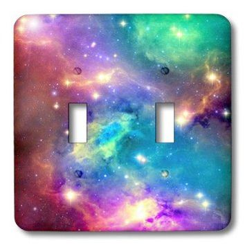 3dRose LLC lsp_112155_2 Colorful Galaxy Double Toggle Switch