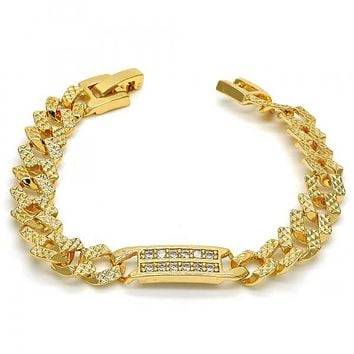 Gold Layered 03.304.0002.06 ID Bracelet, with White Cubic Zirconia, Polished Finish, Golden Tone