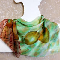 """Silk Chiffon Scarf """"Golden apples time"""". Hand-Painted Art. OOAK Square Shawl. Lime Pear Green-Yellow Ochre Brown. Ready. 70x70cm, 28x28"""""""