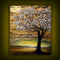 palette knife tree painting 16 x 20 texture impressionist original ...... | mattsart - Painting on ArtFire